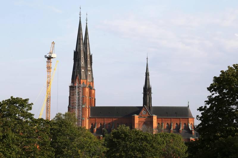 Uppsala domkyrka sedd från Uppsala slott på torsdagsmorgonen.