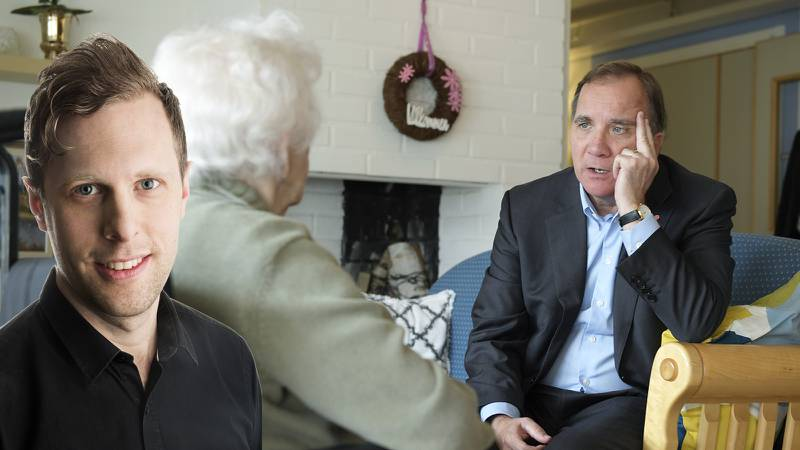 Statsminister Stefan Löfven besöker ett äldreboende före corona-pandemin.
