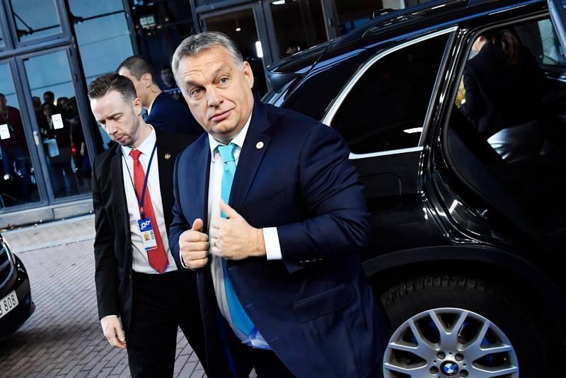 Ungerns premiärminister Viktor Orban vid EU:S toppmöte i Göteborg 2017 för rättvisa jobb och tillväxt.