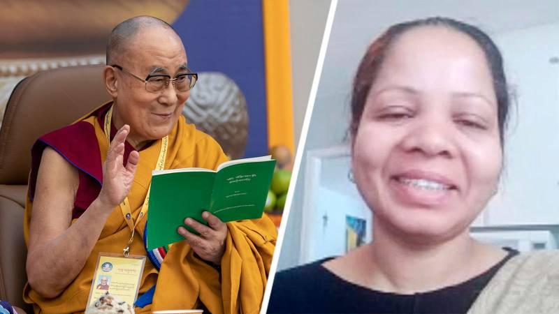 Dalai lama och Asia Bibbi, kombinerad bild.