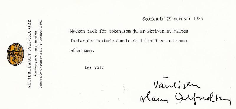 Tackbrevet som Willy Svahn fick 1983 av Hans Alfredson.