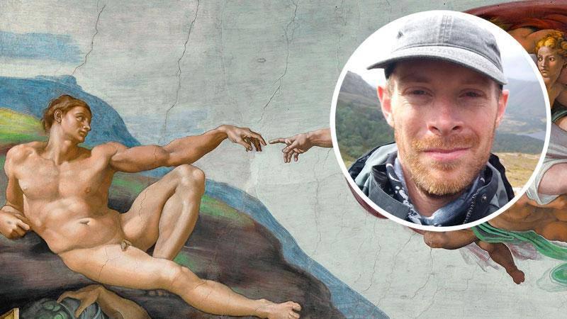 Evolutionsteorin utesluter inte en närvarande Gud. Adams skapelse av Michelangelo.
