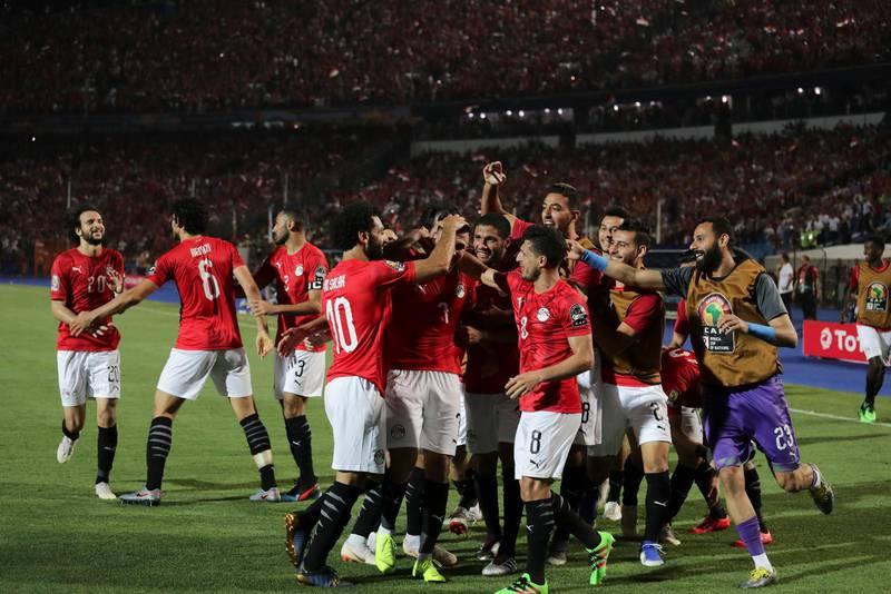 Egypten firar segermålet mot Zimbabwe i Kairo i Afrikanska mästerskapen 2019. Egypten vann med 1-0. I laget finns dock inga kopter vilket är anmärkningsvärt eftersom tio procent av landets invånare är kopter.