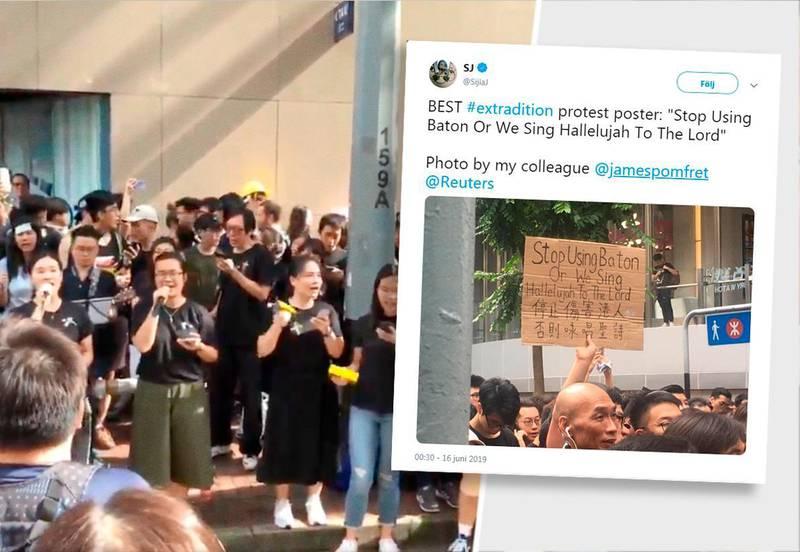 miljonprotester. Trots att ett kritiserat lagförslag har stoppats, fortsätter demonstranter att samlas på gatorna i Hong Kong. En kristen hymn från 1974 har blivit ledmotiv för proteströrelsen. Den föreslagna lagen skulle möjliggöra utlämningar från det relativt självstyrande Hong Kong till Fastlandskina vilket har väckt starka reaktioner bland invånarna i Hong Kong. Förra helgen demonstrerade över en miljon Hong Kong-bor mot förslaget.