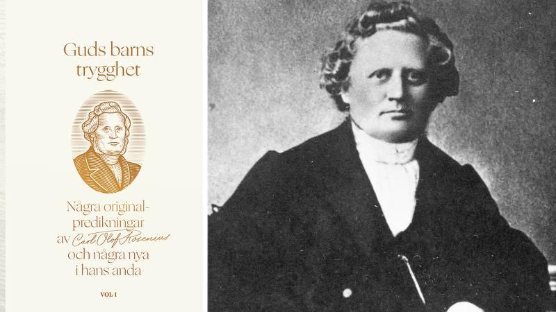 """Bokomslag för """"Guds barns trygghet"""". Omslaget är vitt med Carl Olof Rosenius porträtt."""