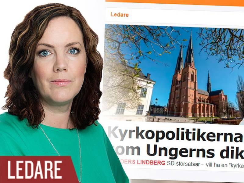 """Skärmdump på ledarartikel i Aftonbladet med rubriken """"Kyrkopolitikerna låter som Ungerns diktator"""". Infälld bild på Frida Park."""