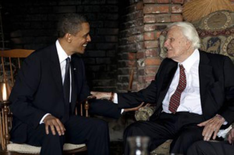 Billy Graham mötte den dåvarande presidenten Barack Obama 2010.