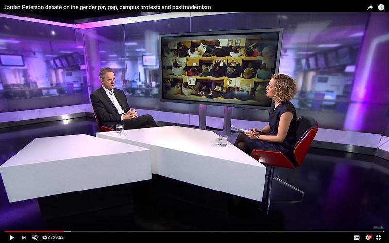 I januari intervjuades Jordan B Peterson av journalisten Cathy Newman på den brittiska public service-kanalen Channel 4. Intervjun har väckt stor uppståndelse och klippet har visats flera miljoner gånger på Youtube.