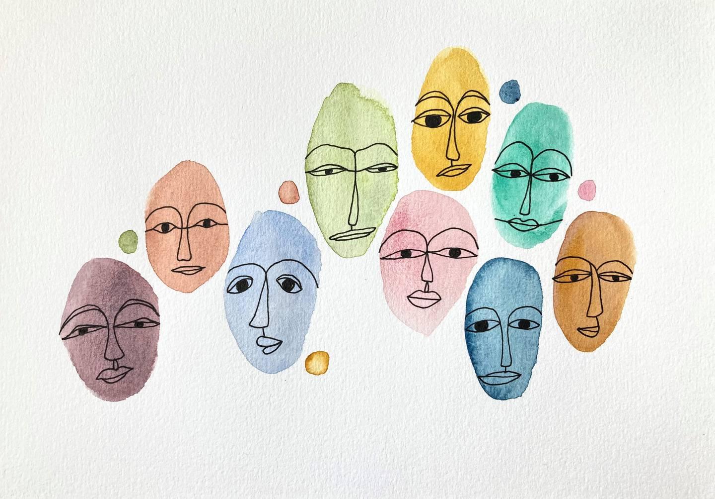 Ansikten målade i akvarell. Illustration av Elin Sharew.