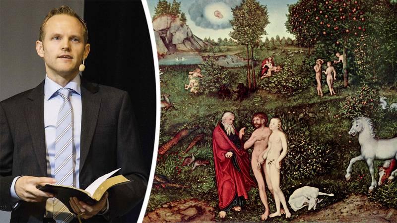 Adam och Eva i Edens trädgård. Målning av Lucas Cranach d.ä. (1530).