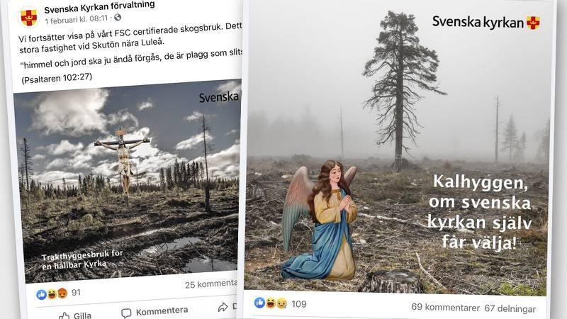Svenska kyrkan förvaltning. inlägget på Facebook berättar ironiskt om kyrkans miljöcertifierade skog.