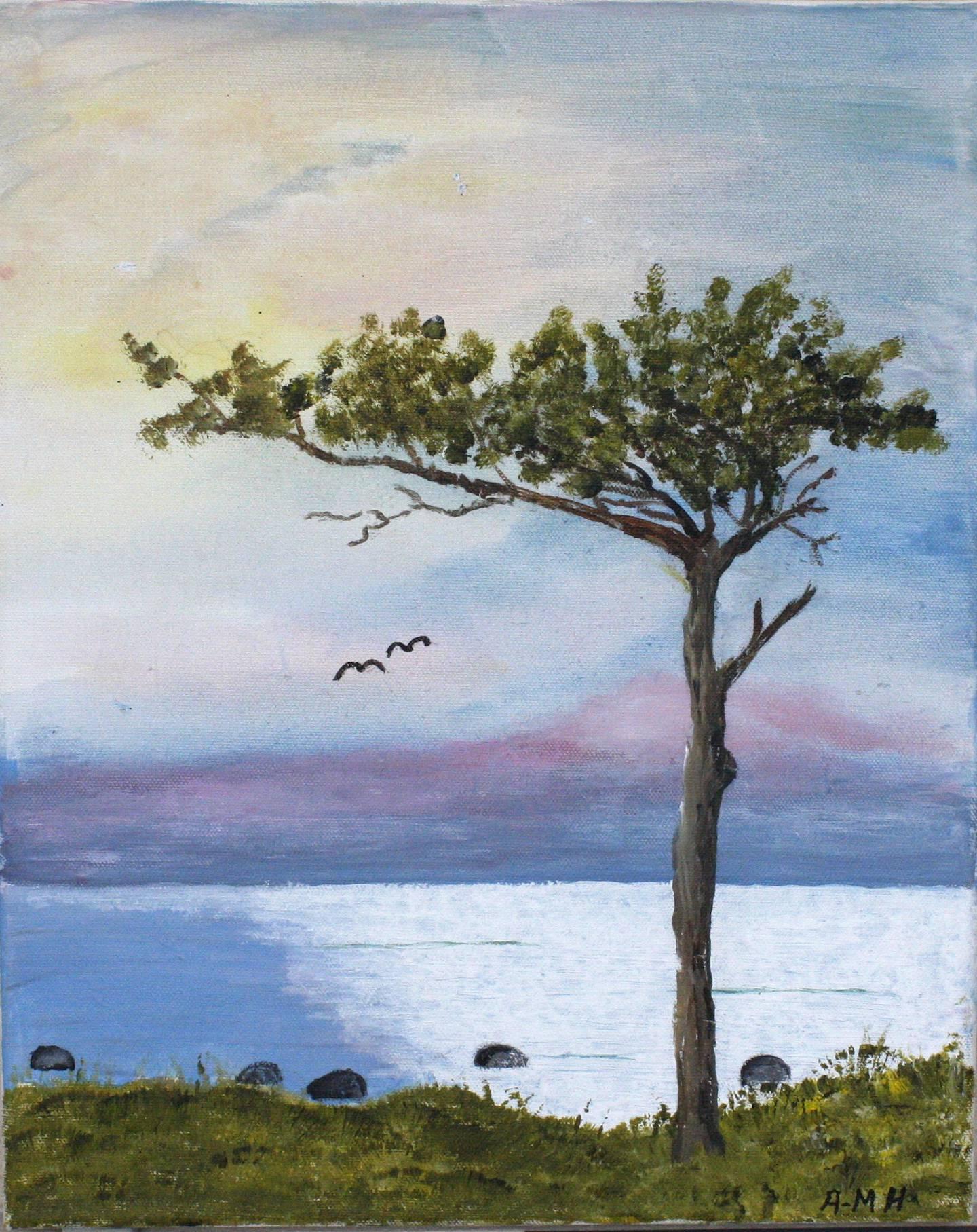 Tavla av Ann-Marie Hammar. Motiv: Tall vid sjö.