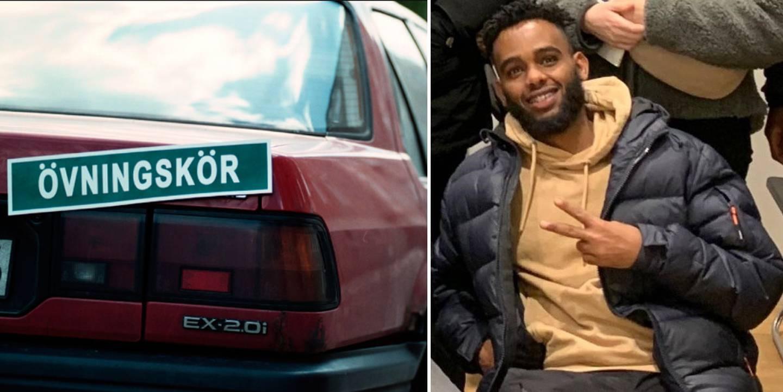 Bil med övningskörningsskylt. Ilyas gör peace-tecknet.