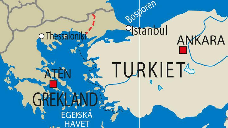 Gränsen mellan Grekland och Turkiet, markerat med rött på kartan.