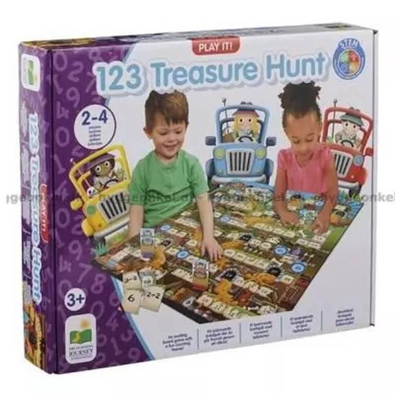 """Barnspelet """"123 Treasure Hunt"""", omslag."""