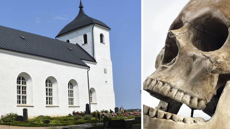 Andreas Ogenblad hittade kranier utanför sin tomt jämte Ramdala kyrka.