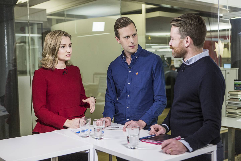 Ebba Busch Thor och Hans Linde debatterar ämnet abort på Dagens redaktion på Kungsholmstorg i Stockholm.  moderator Joakim Lundgren.