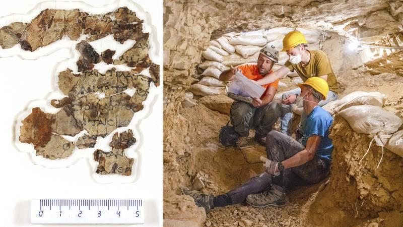 """TEL AVIV. Israeliska arkeologer har hittat """"nya"""" Dödahavsrullar i ökengrotta, det första rullfyndet på 60 år. Det rör sig om nära 2000 år gamla fragment av bibeltexter, bland annat ur Sakarjas och Nahums böcker i Gamla testamentet."""