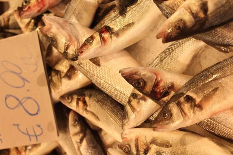 """Fiskförsäljning i matmarknaden """"Mercato della Vucciria"""", Palermo."""