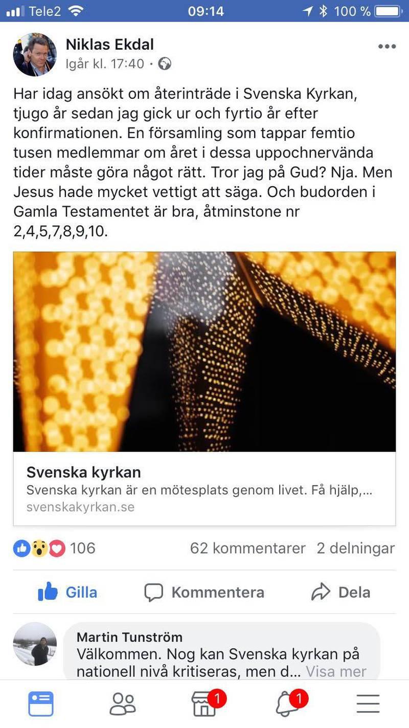 Niklas Ekdals tweet den 29 december 2017 i vilken han offentliggör att han sökt återinträde i Svenska kyrkan.