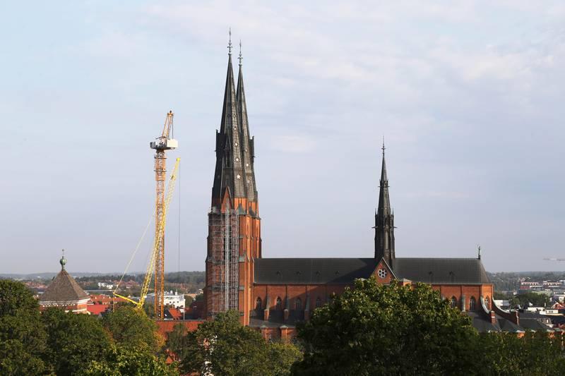 Domkyrkan sedd från Uppsala slott på torsdagsmorgonen.
