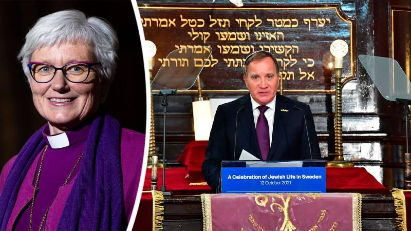 Statsminister Stefan Löfven i Malmö synagoga. Infälld bild på Antje Jackelén.