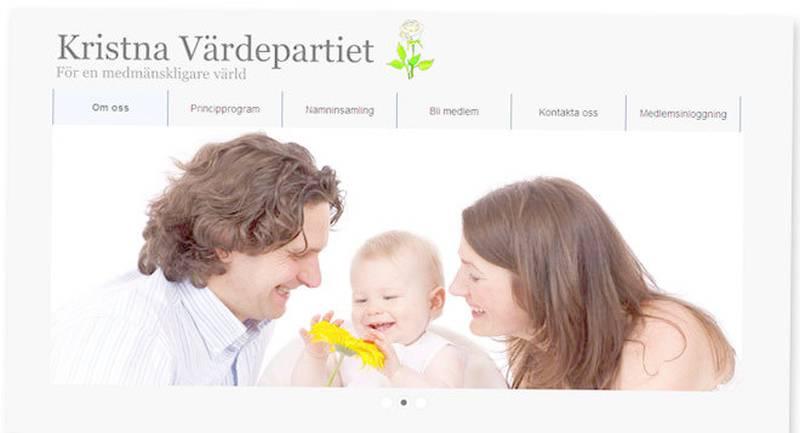 Kristna Värdepartiets hemsida.